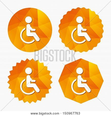 Disabled sign icon. Human on wheelchair symbol. Handicapped invalid sign. Triangular low poly buttons with flat icon. Vector