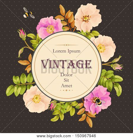 Vector vintage card with sweet briar flowers and berries