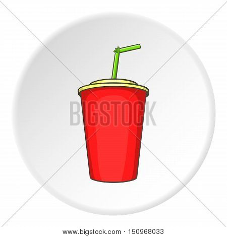 Plastic cup with straw icon. Cartoon illustration of plastic cup with straw vector icon for web