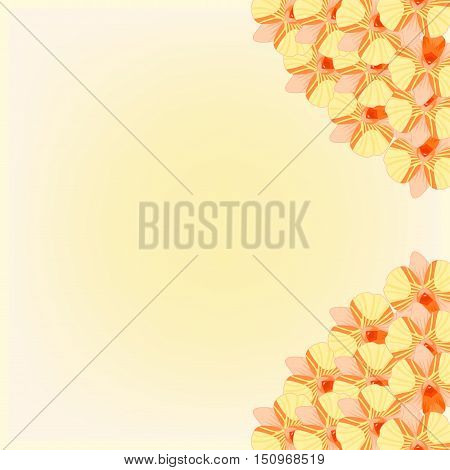 Greeting Card With Orange Orchids On Holiday. Vector Illustration