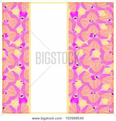 Greeting Card With Pink Orchids. Vector Illustration