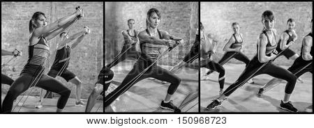 Exercising with stretching band collage