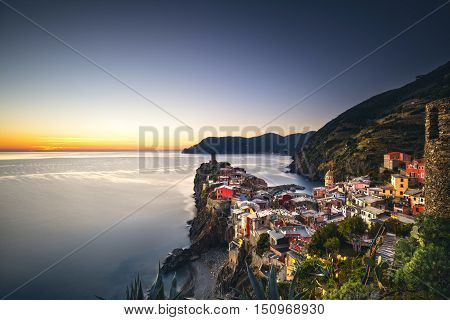 Vernazza village aerial view on sunset Seascape in Five lands Cinque Terre National Park Liguria Italy Europe.