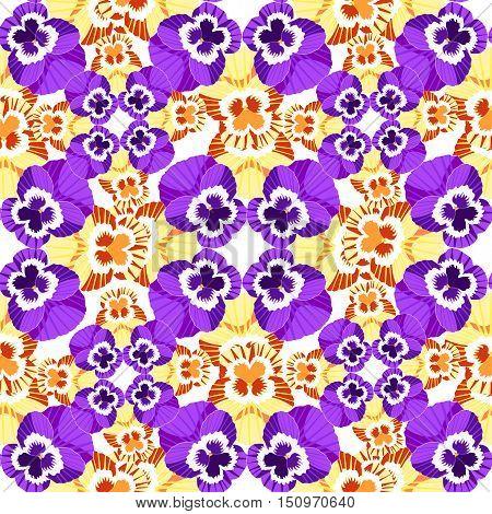 Seamless Flower Pattern Yellow Violet Pansies. Vector Illustration