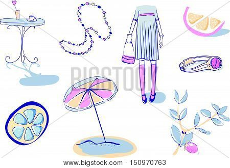 Vector Illustration Set Of 8 Health And Beauty Objects