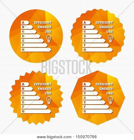 Energy efficiency icon. Electricity consumption symbol. Idea lamp sign. Triangular low poly buttons with flat icon. Vector