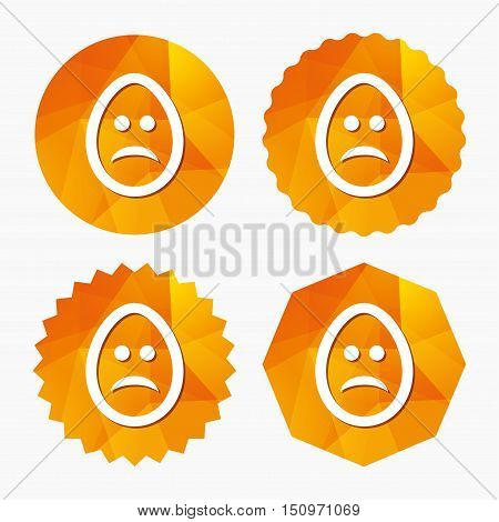 Sad Easter egg face sign icon. Sadness depression chat symbol. Triangular low poly buttons with flat icon. Vector