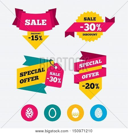 Easter eggs icons. Circles and floral patterns symbols. Tradition Pasch signs. Web stickers, banners and labels. Sale discount tags. Special offer signs. Vector