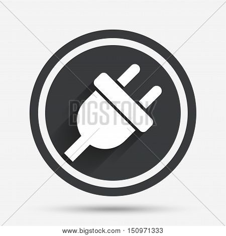 Electric plug sign icon. Power energy symbol. Circle flat button with shadow and border. Vector
