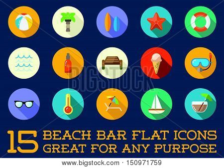 Set Of Vector Beach Sea Bar Flat Icons Elements And Summer Can Be Used As Logo Or Icon In Premium Qu