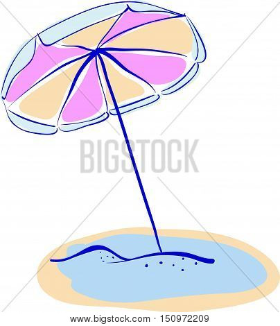 Summer Beach Parasole Or Umbrella Hand Drawn Vector Illustration