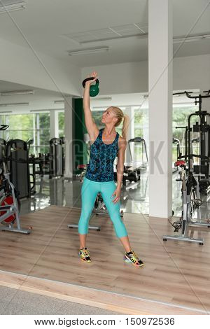 Woman Doing Heavy Weight Exercise With Kettle-bell