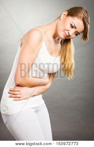 Woman Suffer From Belly Pain.