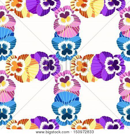 Seamless Pattern Grid Violet Flowers Of Pansies. Vector Illustration