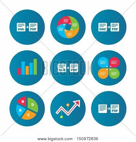 Business pie chart. Growth curve. Presentation buttons. Export file icons. Convert DOC to PDF, XML to PDF symbols. XLS to PDF with arrow sign. Data analysis. Vector