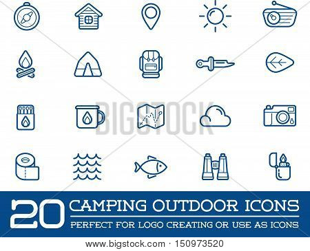 Set Of Vector Camping Camp Elements And Outdoor Activity Icons Illustration Can Be Used As Logo Or I