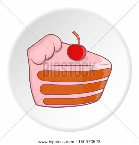 Cake with cherries icon. Cartoon illustration of cake with cherries vector icon for web