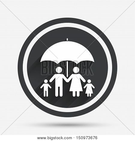 Complete family insurance sign icon. Umbrella symbol. Circle flat button with shadow and border. Vector