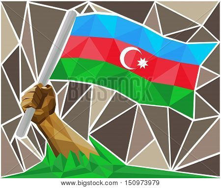Man's Arm Raising The National Flag Of Azerbaijan