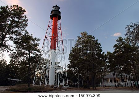 Historic Crooked River Lighthouse in the seaside town of Carabelle on the Florida Gulf Coast
