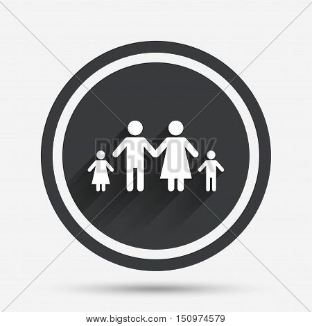 Family with two children sign icon. Complete family symbol. Circle flat button with shadow and border. Vector