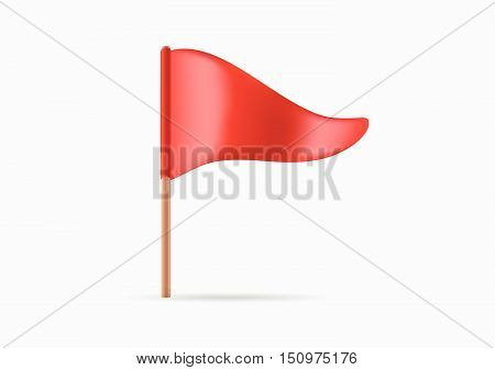 Red Triangular Waving Flag Icon Or Logo In Vector.
