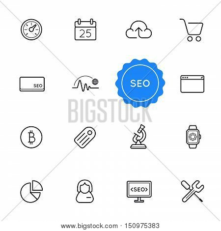 Set Of Seo Search Engine Optimization Vector Illustration Elements Can Be Used As Logo Or Icon In Pr