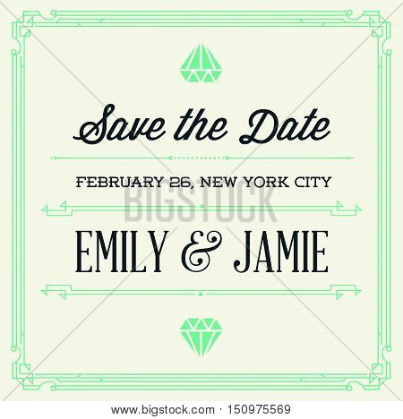 Vintage Style Invitation For Wedding Save The Day In Art Deco Or Nouveau Epoch 1920's Gangster Era V