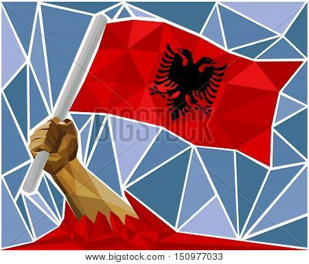 Arm Raising The National Flag Of Albania