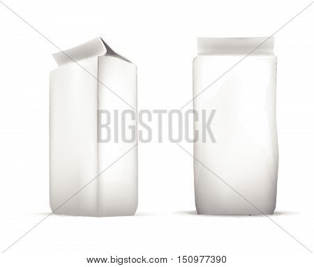 Vector Set Of Blank White Foil Food Packaging Llustration Isolated Mock Up Template Package Ready Fo