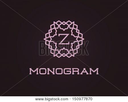 Compact Monogram Design Template With Letter Vector Illustration Premium Elegant Quality