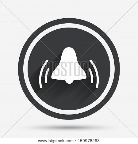 Alarm bell sign icon. Wake up alarm symbol. Circle flat button with shadow and border. Vector