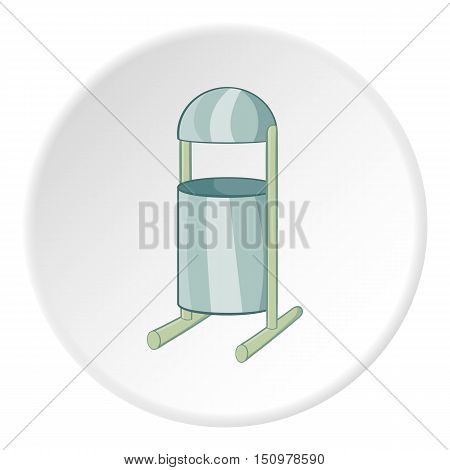 Trash can on legs icon. Cartoon illustration of trash can on legs vector icon for web