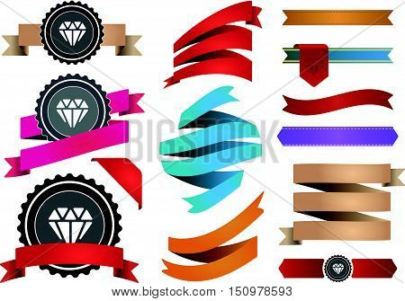 Big Set Of Colorful Ribbons And Labels In Vector Retro And Vintage For All Purposes