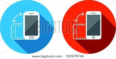 Rotate Flat Smartphone Or Cellular Phone Or Tablet Icons Set In Vector