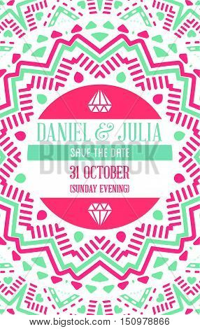 Vector Design Awesome Wedding Invitation Template With Mandala Or Doodles Theme. Ideal For Save The
