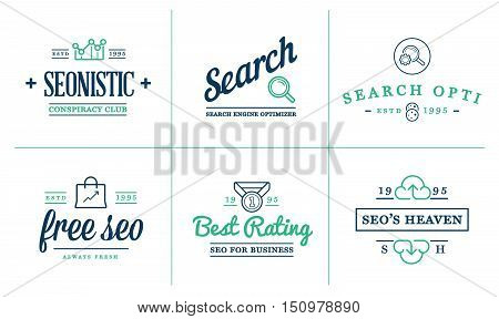 Set Of Vector Seo Search Engine Optimisation Elements And Icons Illustration Can Be Used As Logo Or