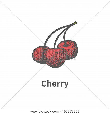 Vector illustration doodle sketch hand-drawn three ripe red juicy cherries on a branch. Isolated on white background. The concept of harvesting. Vintage retro style.