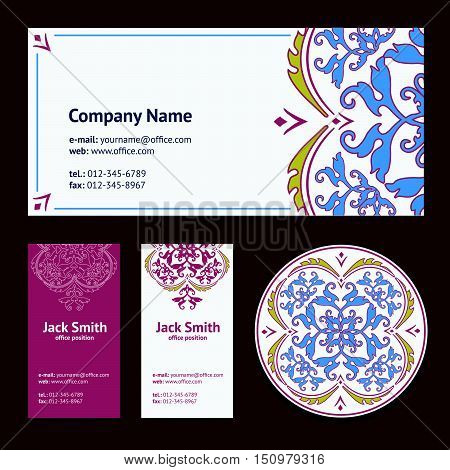 Corporative Business Cards Design Set And Envelope With Beer Mat With Turkish Ornament And Damask Pa
