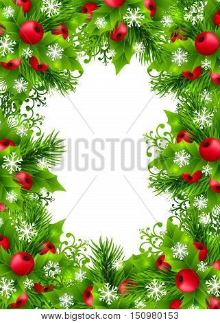Christmas background with fir branches, holly leaves, red holly berries and glowing snowflakes. Winter holiday poster with decorations and greeting text. Vertical vector illustration.