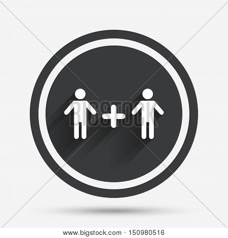 Couple sign icon. Male plus male. Gays. Circle flat button with shadow and border. Vector