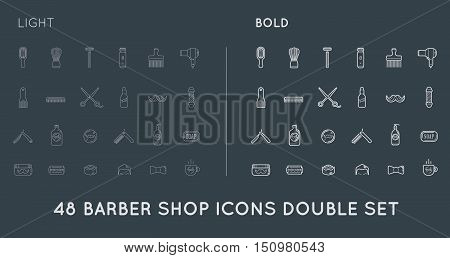 Set Of Thin And Bold Vector Barber Shop Elements And Shave Shop Icons Illustration Can Be Used As Lo