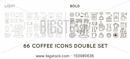 Set Of Thin And Bold Vector Coffee Elements And Coffee Accessories Illustration Can Be Used As Logo
