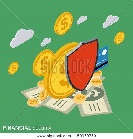 Financial security, money protection flat isometric vector concept illustration