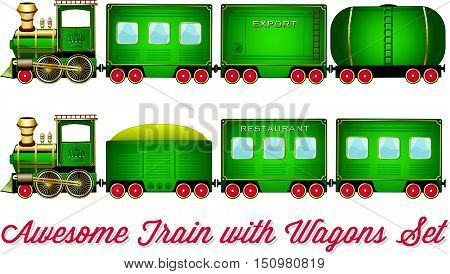 Train With Wagons Vector Green Locomotive With Red Wheels And Different Wagons Looks Like Cartoon Se
