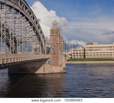 Saint Petersburg, Russia September 04, 2016:View of Bolsheokhtinsky bridge. Peter The Great Bridge.