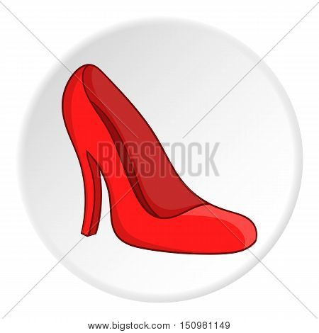 Red women shoes icon. Cartoon illustration of red women shoes vector icon for web