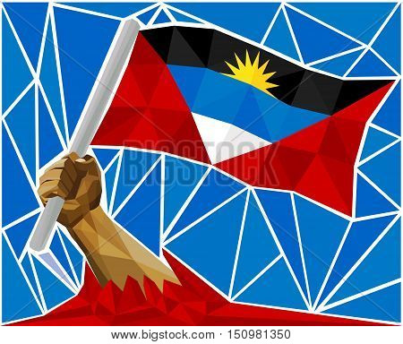 Arm Raising The National Flag Of Antigua and Barbuda