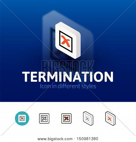 Termination color icon, vector symbol in flat, outline and isometric style isolated on blur background