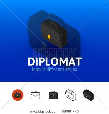 Diplomat color icon, vector symbol in flat, outline and isometric style isolated on blur background